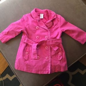 Girls Gymboree Hot Pink Raincoat Trench Coat
